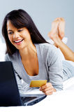 Online shopping woman Stock Images