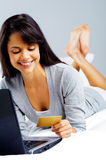 Online shopping woman Stock Image