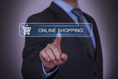 Online Shopping. Working with virtual screen growth Stock Photos