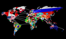 Online Shopping in world Map 3d Rendering on black Stock Photo