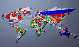 Online Shopping in world Map 3d Rendering Stock Image