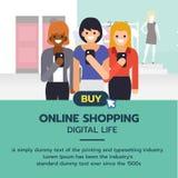 Online-shoppingbaner Grupp av kvinnor som shoppar i supermarket royaltyfri illustrationer
