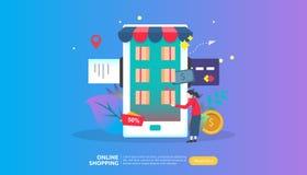 Online-shoppingbaner Till salu e-kommers f?r aff?rsid? med smartphonen och det mycket lilla folkteckenet mall f?r reng?ringsdukla royaltyfri illustrationer