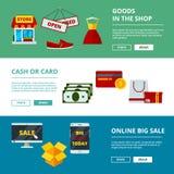Online-shoppingbaner vektor för begrepp för strategi för marknadsföring för applikation för produkter för E-kommers rengöringsduk stock illustrationer