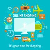 Online-shoppingbegrepp stock illustrationer