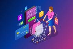Online-shoppingbegrepp för isometrisk smart smartphone Smartphone vände in i internet shoppar Mobil marknadsföring och e royaltyfri illustrationer