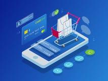 Online-shoppingbegrepp för isometrisk smart telefon stock illustrationer