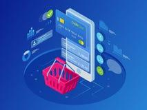 Online-shoppingbegrepp för isometrisk smart telefon vektor illustrationer