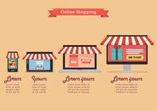 Online-shoppingbegrepp i infographic plan stil Fotografering för Bildbyråer