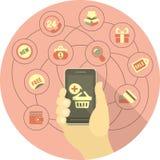 Online-shoppingbegrepp med en telefon Arkivfoto