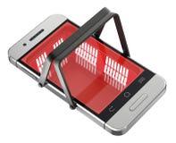 Online-shoppingbegrepp med shoppingkorgen i mobilen stock illustrationer