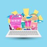 Online-shoppingbegrepp på bärbara datorn Royaltyfri Foto