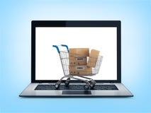 Online-shoppingbegrepp. Shoppingvagn med askar över bärbara datorn Arkivfoto