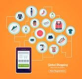 Online-shoppingbegreppsbaner Arkivfoton