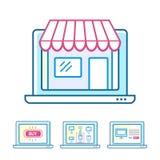 Online-shoppingbegreppsuppsättning Arkivbilder
