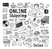 Online-shoppinge-kommers symboler illustration stock illustrationer