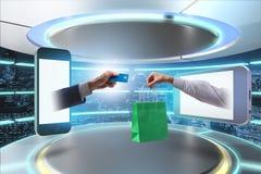 Online-shoppingen till och med köpande från internet arkivbild