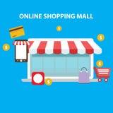 Online-shoppinggalleria vektor illustrationer