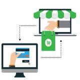Online-shoppingillustration Fotografering för Bildbyråer