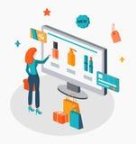 Online-shoppingillustration Arkivfoton