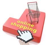 Online-shoppingknapp - e-kommers begrepp stock illustrationer