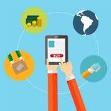 Online-shoppinglägenhetbegrepp för mobila Apps Arkivbild