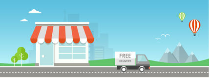 Online-shoppinglägenhetillustration Arkivbild