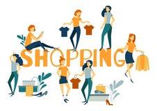 Online-shoppinglandningsida, banerbegrepp, mobil app-mall, design för vektorillustrationlägenhet stock illustrationer