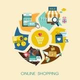 Online-shoppingprocessbegrepp i plan design Royaltyfria Bilder
