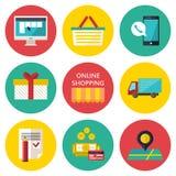 Online-shoppingprocessbegrepp Vektorillustration av affärsrengöringsdukkomrets Royaltyfri Foto