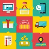 Online-shoppingprocessbegrepp Vektorillustration av affärsrengöringsdukkomrets Arkivfoto