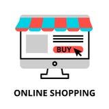 Online-shoppingsymbol, för diagram och rengöringsdukdesign Arkivbilder