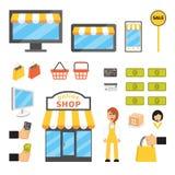 Online-shoppingsymboler Vektor Illustrationer