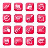 Online-shoppingsymbolsset vektor illustrationer