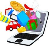Online-shoppingtecknad film Fotografering för Bildbyråer