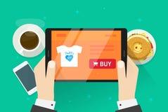 Online-shoppingvektorillustrationen, plan köpande för tecknad filmdesignpersonen något på internet shoppar, idén av ecommercen stock illustrationer