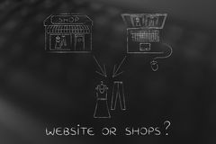 Online shops vs physical store: buying the same items Royalty Free Stock Photo