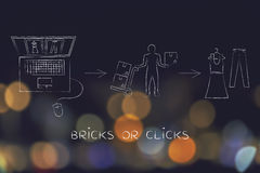 Online shops vs physical store: when you buy from websites Stock Image