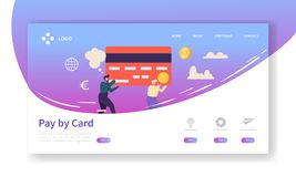 Online-sida för landning för kortbetalningbegrepp Baner för lätta betalningar med den plana mallen för folkteckenWebsite Lätt red stock illustrationer