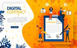 Online signatures for agreements and contracts. people who signed agreement and contract, concept vector ilustration. can use for,. Landing page, template, ui royalty free illustration