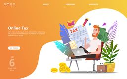 Online-skattbetalning Fyllnads- skattform för folk vektor illustrationer