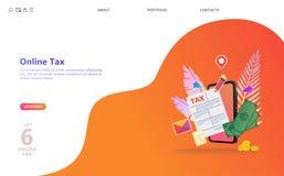 Online-skattbetalning Fyllnads- skattform för folk royaltyfri illustrationer