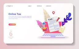 Online-skattbetalning Fyllnads- skattform för folk stock illustrationer