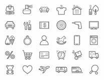Online sklep, produkt kategorie, ikony monotone, liniowy, Zdjęcia Royalty Free