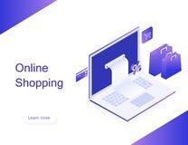 Online sklep Przeniesienie pieniądze od karty Isometric wizerunek laptop, bank karta i torba na zakupy na białym tle, 3d płaski p fotografia stock