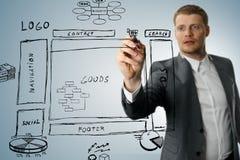 Online sklepowy rozwoju wireframe nakreślenie Fotografia Royalty Free
