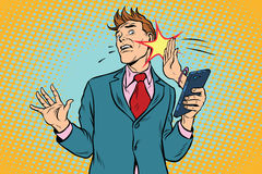 Online slap, the relationship of men and women. Pop art retro vector illustration Stock Photos