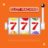 Online slot machine. Vector gambling user interface. Online slot machine. Success lucky, gambling game, slot machine jackpot, casino machine slot illustration Royalty Free Stock Photography