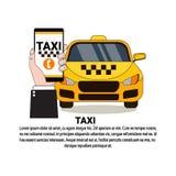 Online-Smart för innehav för taxiservicehand telefon över den gula taxibilen stock illustrationer