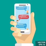 Online sms communication via mobile device. Negotiation. Stock Photo